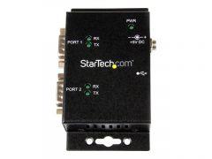 StarTech.com Hub adaptateur industriel USB vers série 2ports à fixation murale avec clips de railDIN